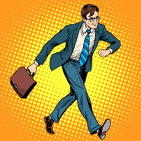 boss cartoon: Businessman optimist goes to work pop art retro style. A man in a suit with a briefcase. Walk the pedestrian street. Illustration