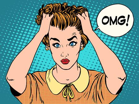 estrés: OMG la mujer en el estilo retro del arte pop de choque. Emociones sentimientos de estrés psicológico. Hermosa chica molesta que ella había hecho. Noticias y chismes