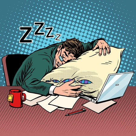 작업자 꿈의 직장 피로 처리 팝 아트 복고 스타일. 저녁 밤. 좋은 노동자입니다. 노트북 및 컴퓨터 작업. 차와 생기