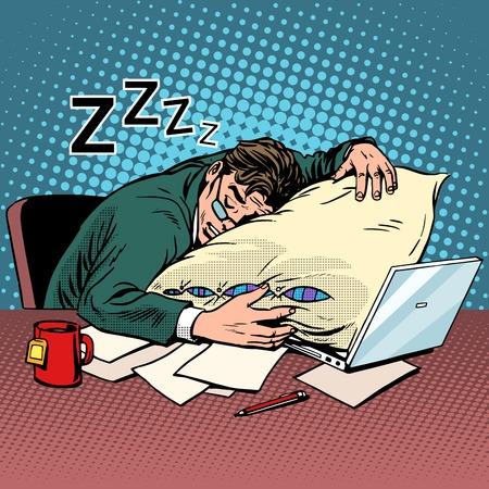 Arbeider droom werkplek vermoeidheid verwerking pop-art retro stijl. Avond nacht. Goede werker. Laptop en computer werken. Thee en levendigheid