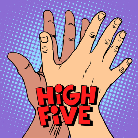 historietas: estilo de alta cinco de felicitación blanco y negro mano del arte pop retro. Un gesto de saludo. Las manos del hombre. Lucha contra el racismo símbolo antifascismo.
