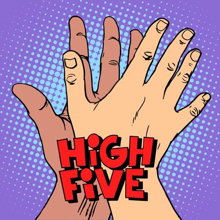 hoge vijf groet witte zwarte hand pop art retro stijl. Een gebaar van groet. De handen van de mens. Anti racisme anti-fascisme symbool.
