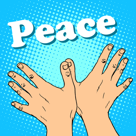 peace movement: hand gesture dove of peace pop art retro style. A symbol of friendship and human solidarity. The anti-war movement.