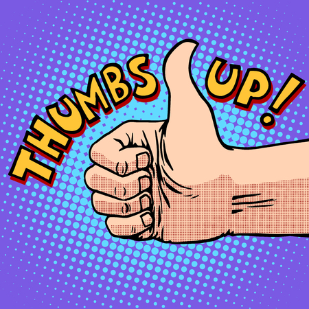 hitchhiking: Thumbs up hitchhiking symbol and approval pop art retro style. Like gesture. Human hand. Optimism