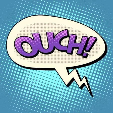 pain: ouch comic bubble text pop art retro style surprise problem news Illustration