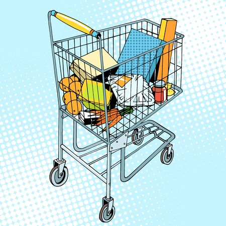 food basket: grocery trolley with food pop art retro style. Buy in the store. Vegetables fruit meat packaging gifts goods. Business and buyers