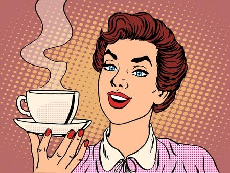 mujer tomando cafe: Chica con la Copa del estilo del arte pop retro caf�. Restaurantes y cafeter�as. Una bebida caliente. del valor del amor y cuidado Vectores