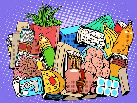 range fruit: the set of products and food goods pop art retro style. Meat fish sausage greens vegetables fruit bananas onions cream butter milk yogurt eggs cheese pasta spaghetti potato canned food Bank Illustration