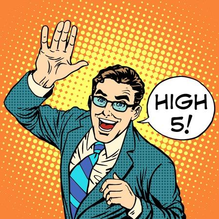High five joyful businessman pop art retro style.