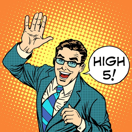high five: High five joyful businessman pop art retro style.