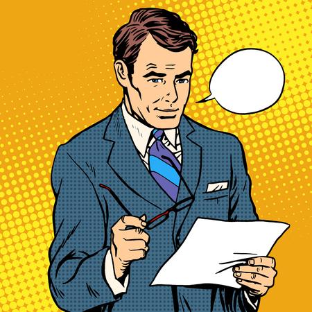 文書を読むビジネスマンはポップ アート レトロなスタイルです。