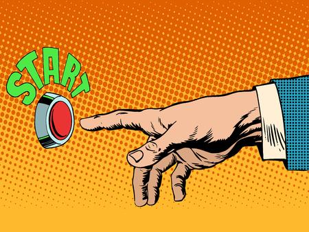 dedo: As prensas vermelhas mão botão start pop art do estilo retro.