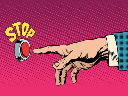 switch: The red stop button hand presses pop art retro style.  Illustration