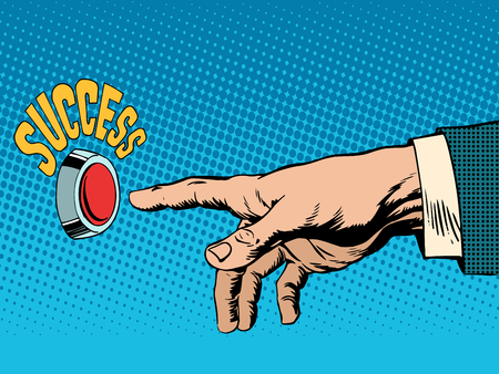 The red success button hand presses pop art retro style. Business concept success