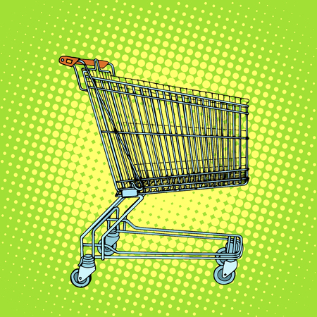 grocery cart: Grocery cart shopping pop art retro style. Business concept of sale and buyers at grocery stores Illustration