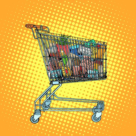 Grocery cart with food pop art retro style. Consumption and shopping in stores. Business concept consumer goods