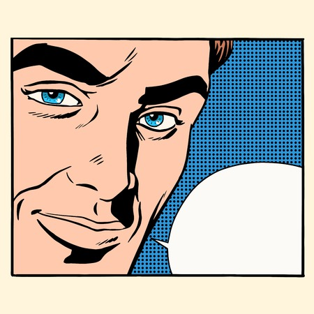 human eye close up: Face beautiful men comic bubble pop art retro style. Close-up of person says. Communication conversation dialogue Illustration
