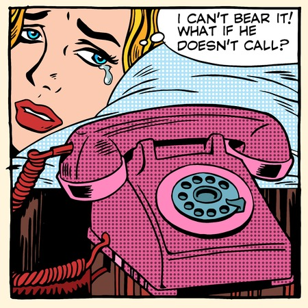 vintage telephone: The woman is crying and waiting for a call pop art retro style. Love fellowship suffering romantic relationship problems. Phone technology and communication