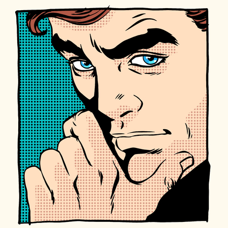man style: Man thinker scientist pop art retro style. Creative process. The business leader. Close up of man face
