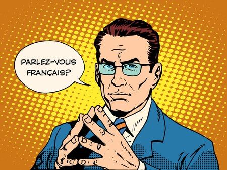 Parli francese traduttore di lingua corso pop art stile retrò Archivio Fotografico - 49575366