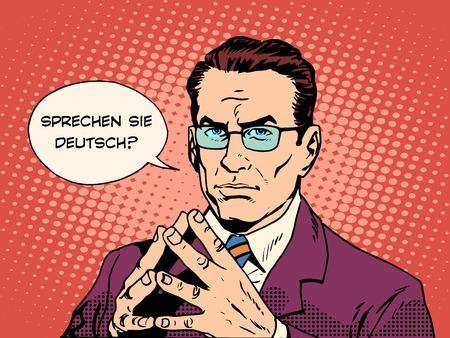 deutsch: Do you speak German interpreter language courses pop art retro style. Sprechen Sie Deutsch