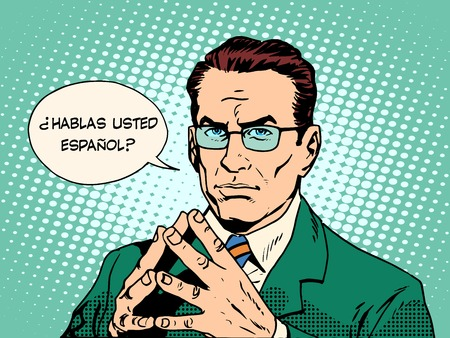 Do you speak Spanish translator language course pop art retro style. Usted habla espaol