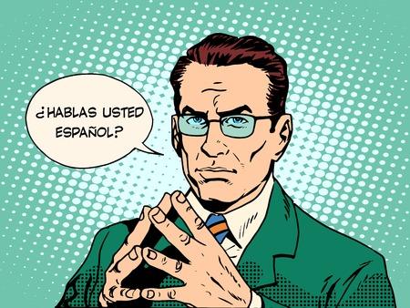 translator: Do you speak Spanish translator language course pop art retro style. Usted habla espaol