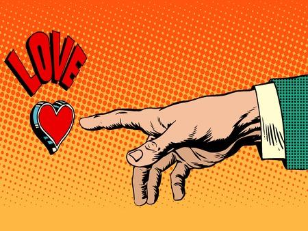 Love romance hand presses button pop art retro style. Red heart button