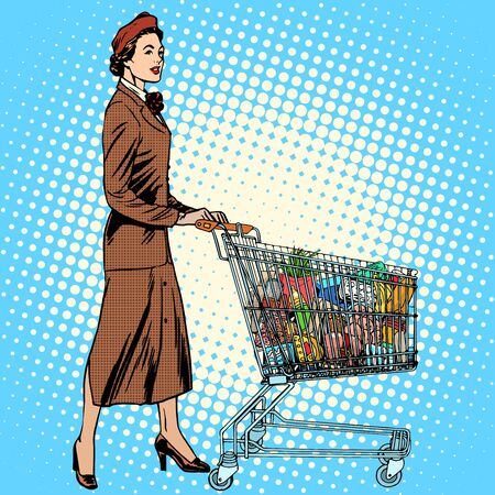 family budget: shopper grocery cart full of food pop art retro style. The business concept of purchasing and sales. Mom and the family budget
