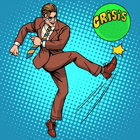 decisive: Man hits ball with name crisis pop art retro style. The economic and financial problems. Policy and decisive action Illustration