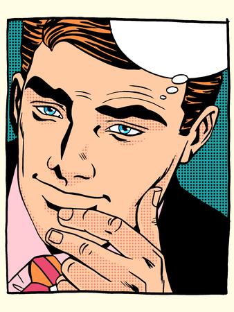 bel homme: Gros plan homme regardant beau visage pop art style r�tro. L'homme dit et montres