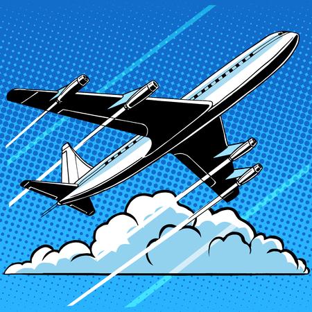 Passagiersvliegtuig in de wolken retro achtergrond pop art-stijl. Reizen en luchtvaart. Vervoer en vluchten
