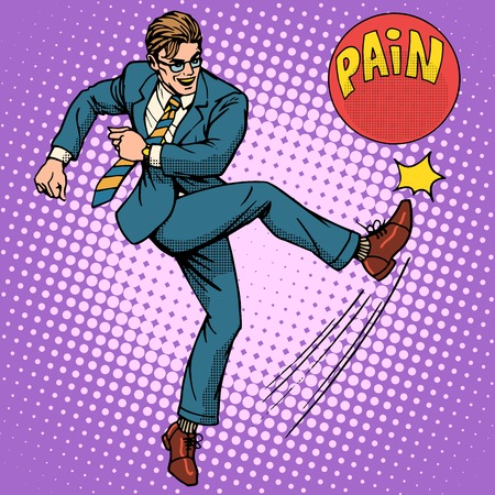 anesthesia: Man hits ball with name pain pop art retro style. Medical and mental health. Medicines and treatment. Pharmacy and pills