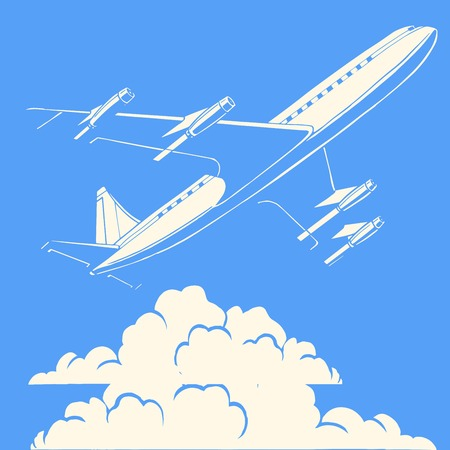 thought cloud: Passenger airplane in the clouds retro background pop art  style. Travel and aviation. Transport and flights Illustration