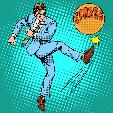 stressed businessman: Man hits ball with name stress pop art retro style. Hard work. Optimistic worker Illustration
