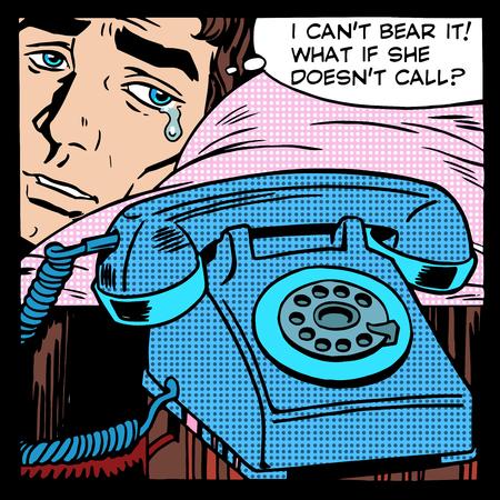 caras de emociones: Amor Hombre llorando estilo del arte retro del tel�fono del estallido llamada en espera. Las relaciones entre los hombres y las mujeres. Las emociones y l�grimas. Humor Vectores