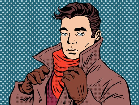 enamorados caricatura: Rom�ntica joven clima fr�o del arte pop de estilo retro. La soledad y sentimientos. Hombre hermoso y el amor. Oto�o clima invernal