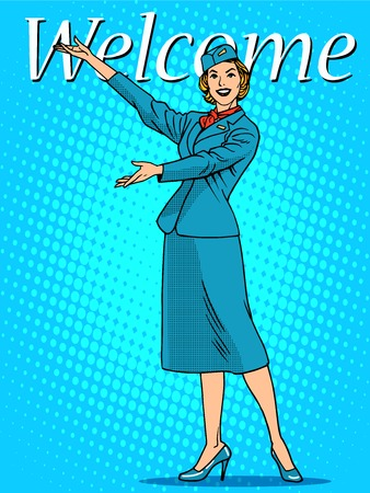 welcome business: Welcome stewardess travel tourism pop art retro style. The airport and flights. Good mood the business card