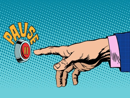 The pause button hand press pop art retro style. Music and audio. Business concept a rest or break in work