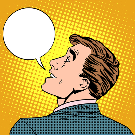 said: Enthusiastic man said pop art retro style. Business concept interesting conversation. The man, middle-aged businessman raised his head up. Your brand here Illustration