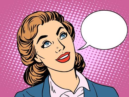 zakenvrouw geïnteresseerd in de communicatie pop art retro stijl. Mooie zakelijke vrouw dialoog gesprek. Hier uw merk
