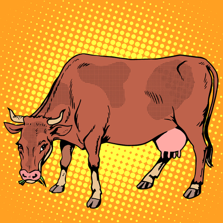 food art: Cow eating grass farm animals pop art retro style. Ranch and agriculture. Meat and dairy industry and business.