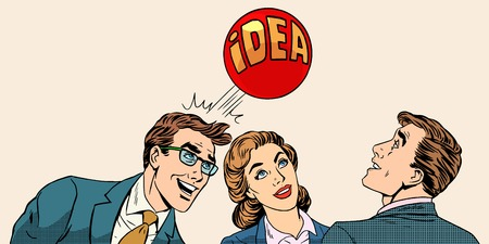 Brainstorming business team concept to develop the idea pop art retro style. Businessmen and a businesswoman playing with a ball with inscription idea.