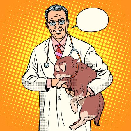 personas enfermas: salud enfermedad estilo retro del arte pop Pet Vet. Vet m�dico sosteniendo mascota. Un gato o un perro. El tratamiento de animales dom�sticos y de granja
