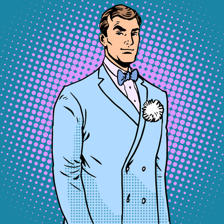 love cartoon: The groom in a wedding suit pop art retro style. The flower in the buttonhole. Handsome man
