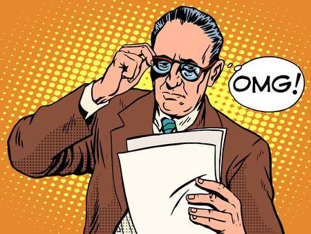 놀랄 보스 비즈니스 개념 팝 아트 복고 스타일을 OMG. 노인 문서를 읽습니다. 뉴스와 사실. 불쾌한 이벤트 일러스트