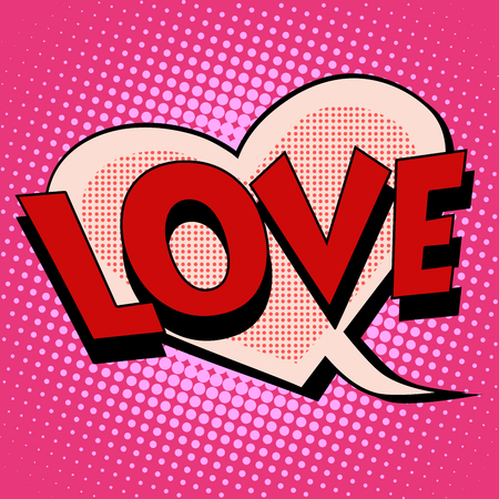romance love: Comic bubble heart shape love pop art retro style. Romance and Valentines day. Wedding and marriage