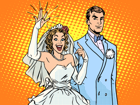 Wedding groom and happy bride pop art retro style. A woman and a gold wedding ring. Love and relationships men and women