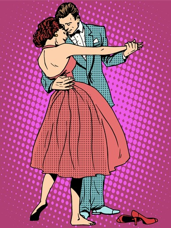 romance: Mariage amateurs de danse homme et femme pop art style rétro. Sentiments émotions romance. sonneries musicales Art. Fille et le mariage. Couple dansant