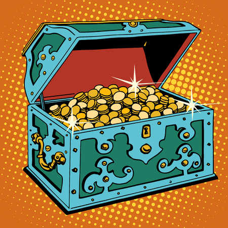 Treasure chest with Golden coins pop art retro style. Pirates and treasures. The gain and wealth. The business concept of financial success. Tales and adventures